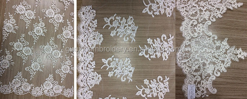 2014 Mesh fabric type and 100% polyester material schiffli embroidery lace