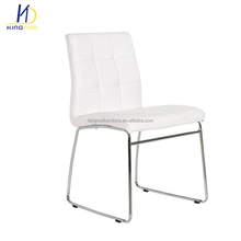 Wholesale Modern White Chrome Bow Leg Metal Leather Dining Chair