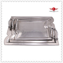 3 PCs Wholesale Stainless Steel Serving Tray / Reusable Food Tray /Stainless Steel Decorative Serving Metal Tray With Handle