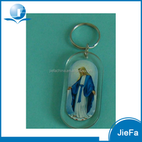 High quality promotional transparent pvc blank plastic photo insert keychain