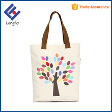 Alibaba china supplier contrasting color webbing handle colorful tree printing cotton fashion wholesale tote bag