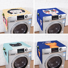 Washing machine fabric cover Water proof cartoon washing protective cover cotton linen in middle cover