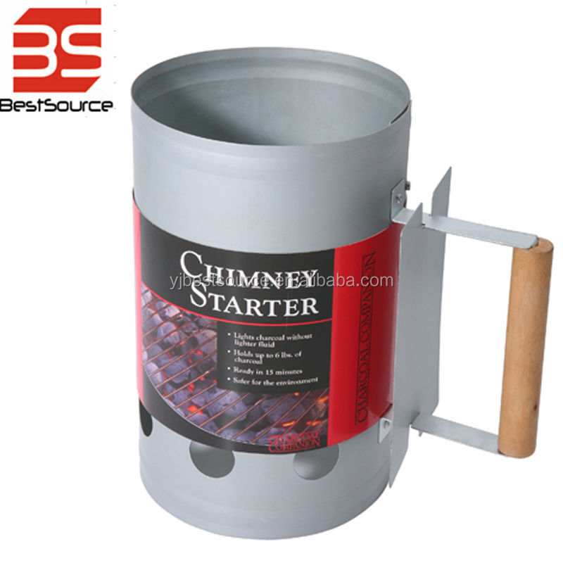 BBQ Charcoal chimney starter with wooden handle