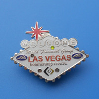 metal customize pin for las vegas, world financial group lapel pin with bling led light