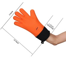 Extra Long Silicone BBQ Cooking Mitts Waterproof Heat Resistant Gloves With Linner