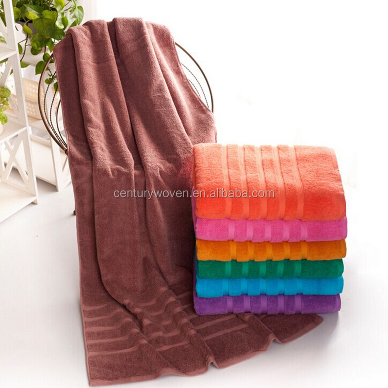 Various color comfortable high water absorption luxury border large bath towel softextile