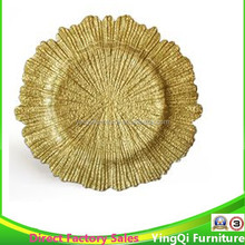 Cheap Gold Glass Charger Plates for Wedding