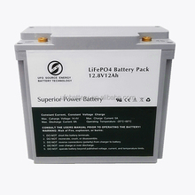SLA replacement Lithium ion battery 12V 12Ah LiFePO4 solar system battery pack
