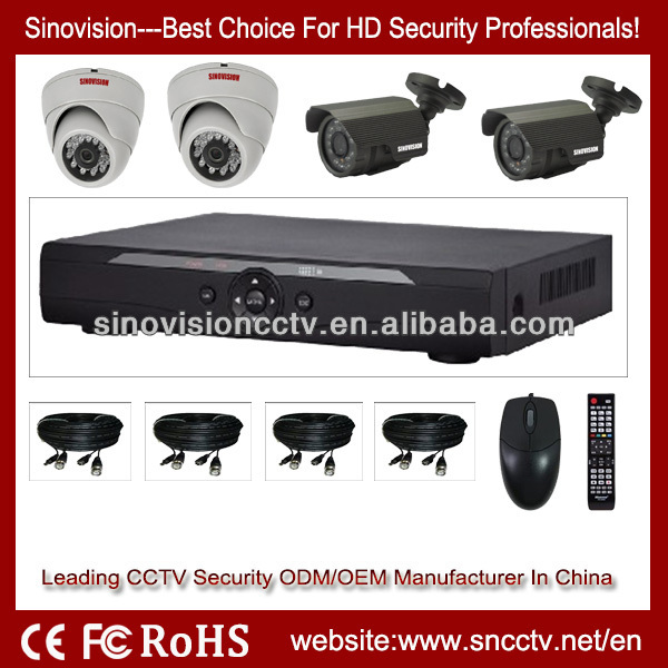 Wholesale 4CH H.264 CCTV Security System Cheap DIY 4CH CCTV Home Surveillance DVR Kit H.264 Security Kit with 4 Cameras