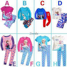 2015 Hot selling Frozen Cartoon Suit for kids Frozen Children's sleepwear Girls leisure wear Frozen Pajamas