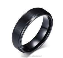 New Model Matte Finish IP Black Plated Carbide Tungsten Ring Blank