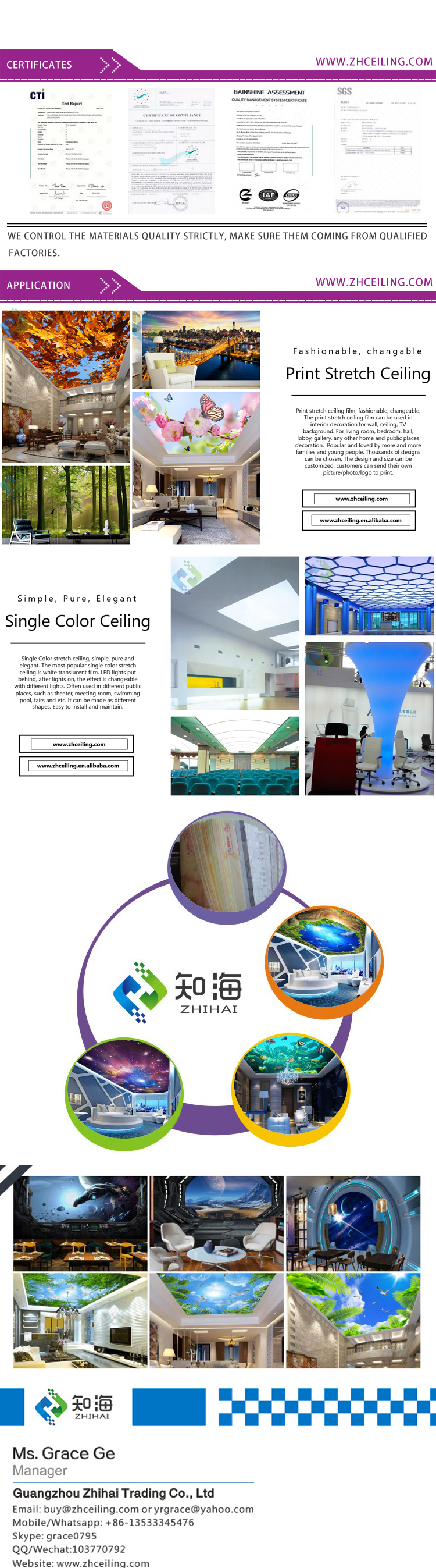3.2mWx2.1mH per piece New Morden Suspended Tiles ZH Ceiling 3D Visual peachblossom Print PVC Stretch Ceiling Film