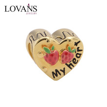 925 Sterling Silver Engraved Letter My Heart Charm 14k Gold Plated Fits DIY Charms Bracelet Wholesale YZ681