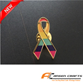 Factory custom Breast Cancer Ribbon Pin gaypride ribbon lapel pin