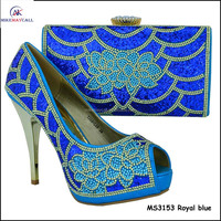 2016 Royal blue designer Crystal lady fashion high heel dress shoes guangzhou factory MS3153