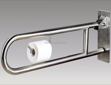 Toilet safety U shape stainless steel folding up grab bar for elder
