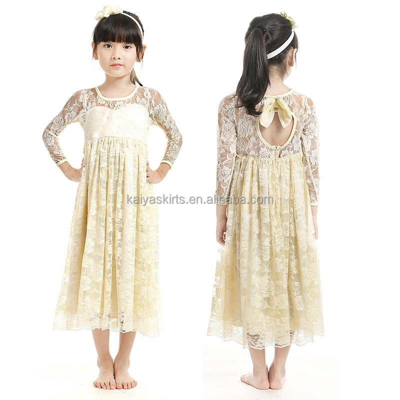 Spring 2016 New arrivel wholesale boutique flower girl dress baby girl ivory long sleeve lace dress girl's clothing