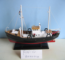 Wooden Fish/Shrimp/Crab boat model, black 50x14x40cm , 2 stand masts Fishing ship vessel model, hand made nautical replic model