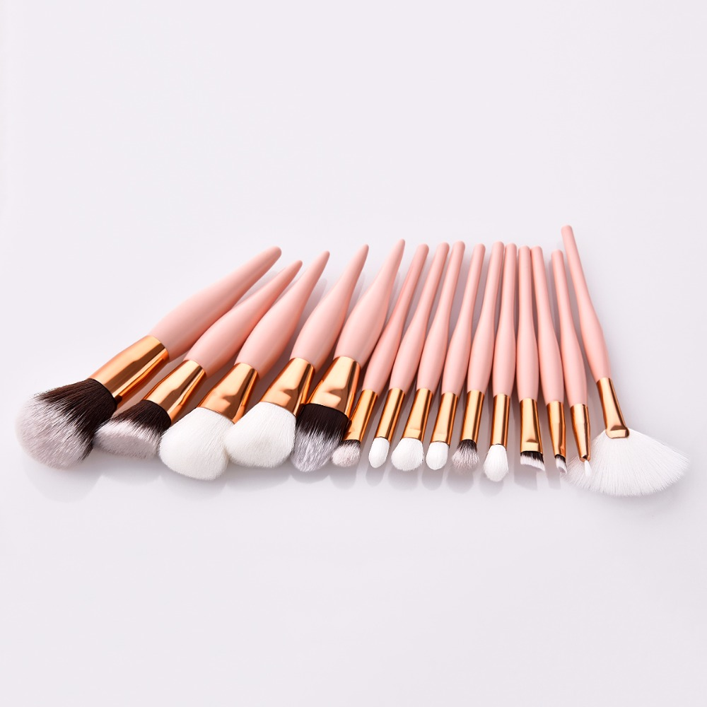 Private label 15pcs one cloth bag make up brush pink color cosmetic makeup brush set