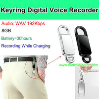 192 Kbps keychain voice recorder 8GB