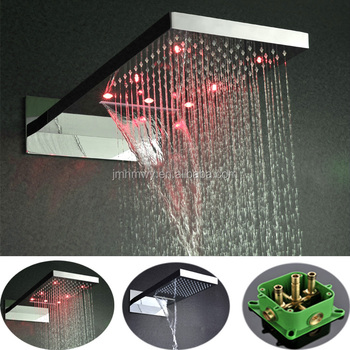 made in china hotel star shower with lighted led lamp stainless steel bathroom big waterfall rain shower