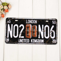 Home decoration advertising popular vintage metal craft funny printing embossed logo ROUTE66 tin plate car license plate