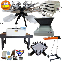 6 color 6 station Stencil Carousel Manual Silk Screen Printing Machine full set package