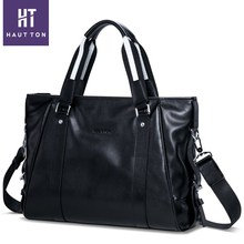 HAUTTON Top Selling Professional Man Vintage Leisure HandBags High Quality Fashion Genuine Cow Leather Travel Bags For Men