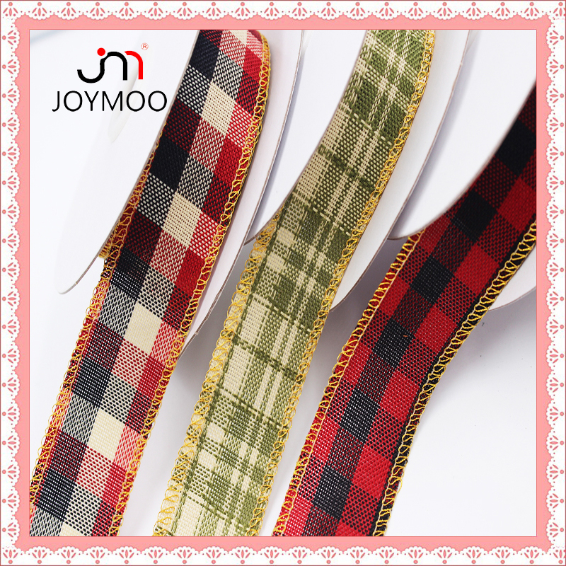 2016 Custom Woven Tartan Plaid Ribbon Mixed Color Black Red and Green Plaid Ribbon Decorative Christmas Tartan Ribbon for Bows
