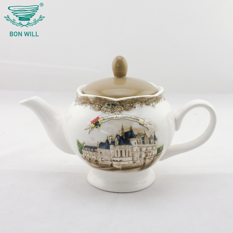 Eco-friendly white porcelain ceramic tea pot set