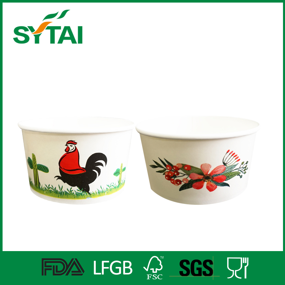 Pe coated customized logo printed ice cream / frozen yogurt food grade paper bowls