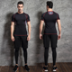 short sleeve men gym clothing fitness sports wear plus size compression tights