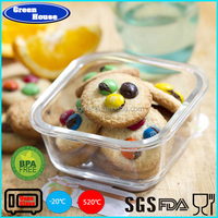 Hot Sale Glass Food Container With BPA Free Lid Customized Square Shape