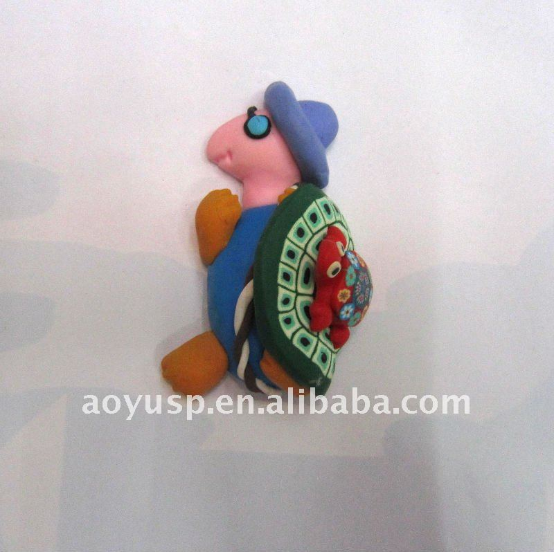 Custom non-toxic polymer clay animial shape PVC cartoon fridge magnets resin 3d fridge magnets