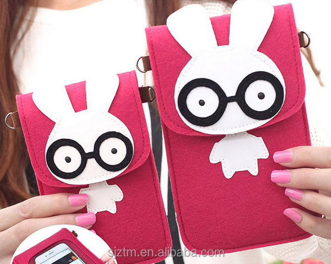 wholesale rabbit felt cell phone shoulder bag for girls