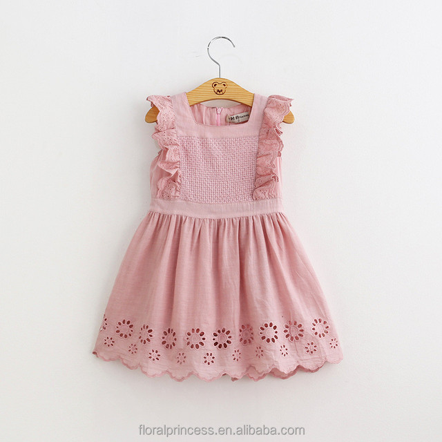 2018 Summer Baby Girls Birthday Party Dress Toddler Baby Cotton Frock Design Pink Dress 2-6Years Old Kids Clothes