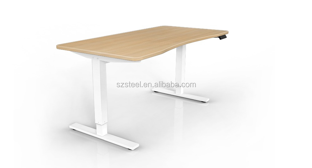 bamboo table top adjustable height table by electrical motor adjustable office desk