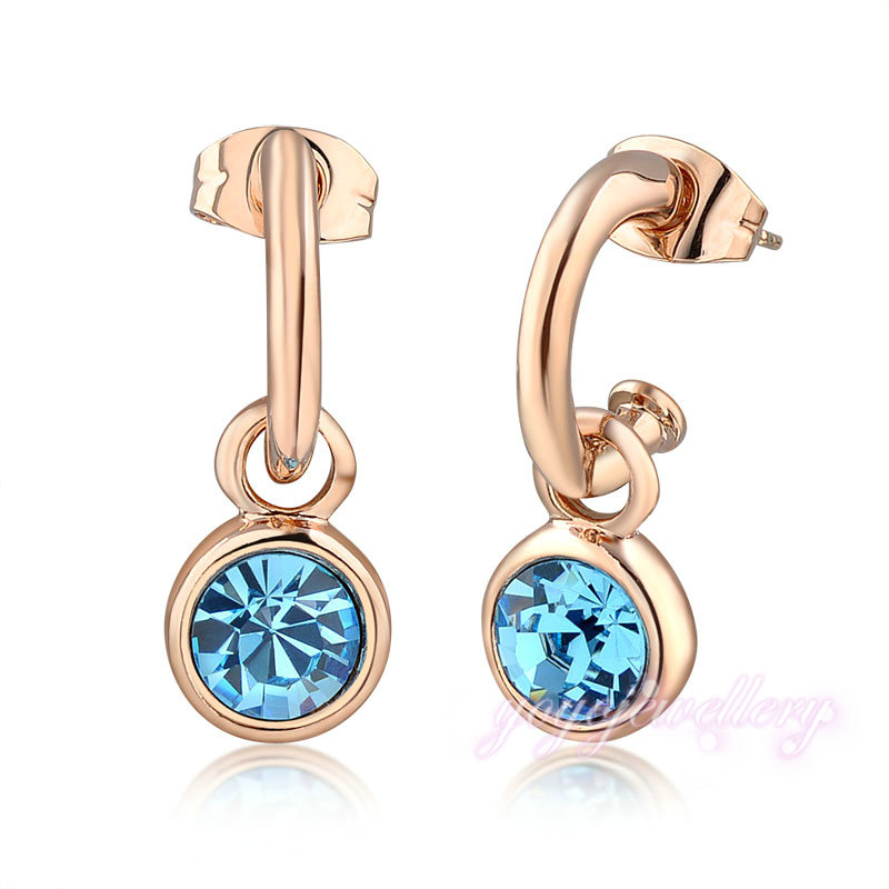 Alloy latest fashion fake drop gold earring with aquamarine