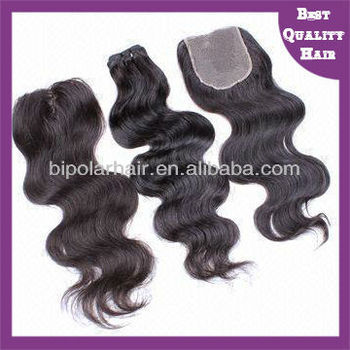 body wave Indian hair weave swiss lace top closure 4x4