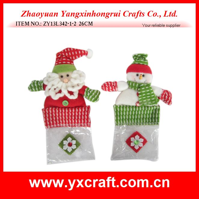 Christmas decoration (ZY13L342-1-2 26CM) plastic gift bag santa and snowman