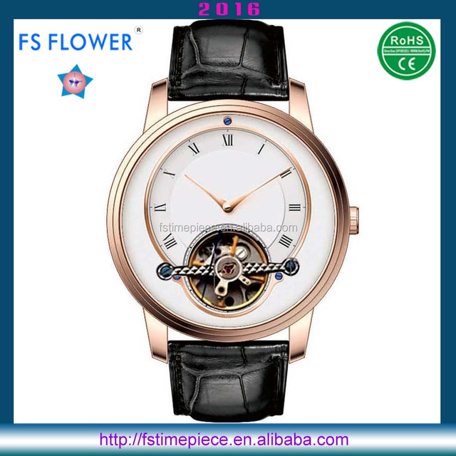 FS FLOWER - Classical Men Watch Rose Gold Case Mechanism Watch Movement Leather Band