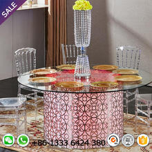 Factory price acrylic wedding table with colorful LED light