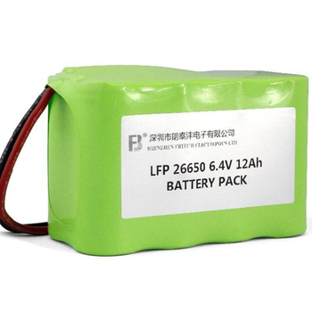 LiFePO4 26650 6.4V 12Ah Rechargeable battery pack