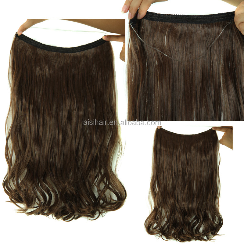 "21"" Flip In Invisible Hair Extension Long Curly Wave Synthetic Halo Hair Extension"