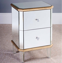 ZhaoHui Exellent design silver glass mirrored bed side table with 3 drawers