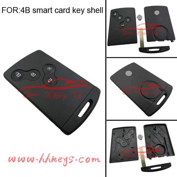 Best price for Renault Koleos key case 4 button smart key covers blank card renault with logo
