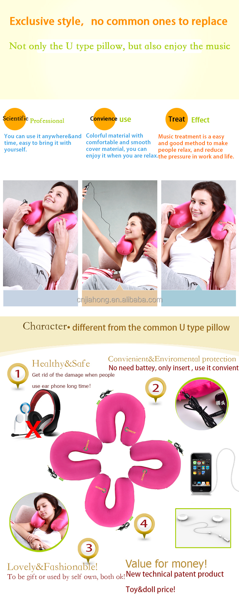 good quality car neck pillow filled with polystyrene beads