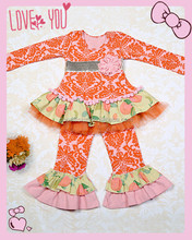 High quality 3pcs decorative outfit newborn thanksgiving turkey outfit pink tshirt Giggle Moon Remake Outfits