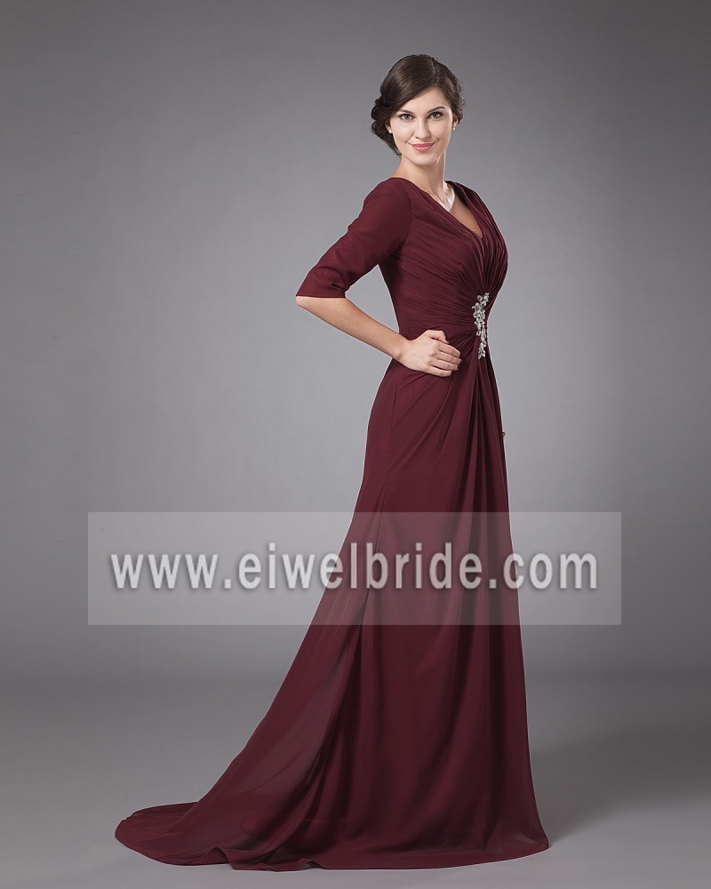 Custom made reddish brown half sleeve appliqued pleated evening dress montreal