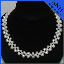 Triple strand pearl collar necklace for AAA button